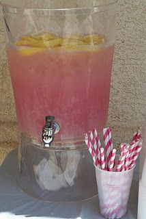 Pink paper straws and pink lemonade