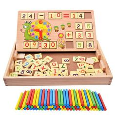 Wooden math toys for baby kids 3 years old montessori Educational toys for toddler Digital stick spillikin children brinquedos  #s #baby #e #OrganicCotton #BeadsNecklace £43.99 #organic #natural #ecofriendly #sustainaable #sustainthefuture