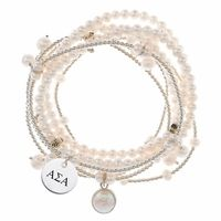 """This Alpha Sigma Alpha bracelet set contains seven strands of freshwater pearls and sterling silver beads to create a modern and fun stretch bracelet with a classic style. The subtle addition of the sorority mark is another way to show your sorority spirit!Solid Sterling SilverNumber of pearl strands: 3Number of silver strands: 4""""The indicia featured on this product are protected marks owned by the respective sorority"""""""