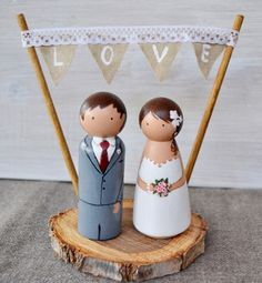 Wedding Decorations – Personalized Bride and Groom Wood Slice – a unique product by handANAhada on DaWanda
