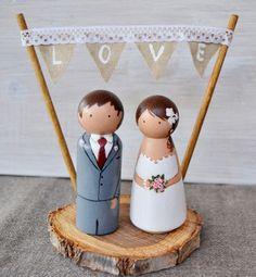 Hochzeitsdeko - Personalisierte Braut und Bräutigam Holz Scheibe - ein Designerstück von handANAhada bei DaWanda