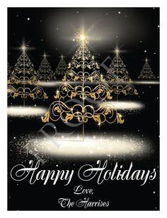 Black Elegant Swirls Custom Christmas Tree Wine Label