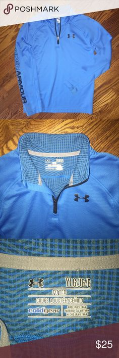 Youth Under Armour 1/4 zip...cold gear...Size L Gorgeous blue Under Armour 1/4 zip cold gear fitted top...in excellent condition with no rips, stains or snags...Size L from a smoke free home! Under Armour Shirts & Tops