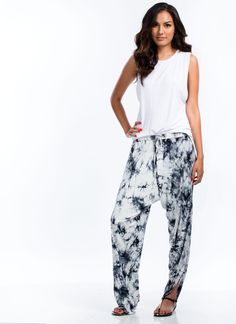Tie-Dye For Split Drop Crotch Pants WHITE - GoJane.com