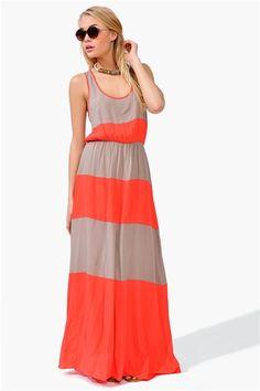 Taupe + coral maxi tank dress
