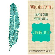 Modern Cross Stitch - Turquoise Feather Cross Stitch Pattern -  PDF Pattern - Instant Download