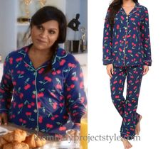 """Mindy's cherry print pajamas from """"While I Was Sleeping""""!BedHead Cherry Pick PJ Set in Navy - $142 (shorty version for $69 here and half price in white here)"""