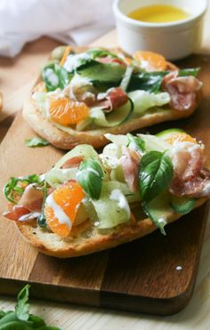 Cucumber, Fennel & Orange Salad Bruschetta