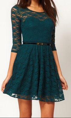 green  dress, love the colour