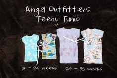 Our sister organization, Angel Outfitters, has released a beautiful new Teeny Tunic pattern for our angel families! These tunics fit the s. Bunting Pattern, Tunic Pattern, Sewing Crafts, Sewing Projects, Charity Gifts, Preemie Clothes, Angel Gowns, Angel Outfit, Couture