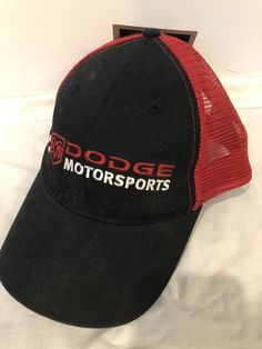 07629d3a3c93d Dodge MotorSports Factory Race Team NASCAR Adjustable Trucker Hat Black Red   fashion  clothing  shoes  accessories  unisexclothingshoesaccs ...