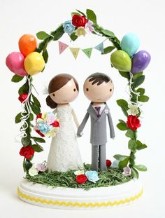 custom wedding cake topper with balloons & par lollipopworkshop, $225.00