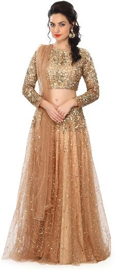 Buy Online from the link below. We ship worldwide (Free Shipping over US$100) Price - $379.00 Click Anywhere to Tag http://www.kalkifashion.com/gold-lehenga-embellished-in-sequin-embroidery-only-on-kalki.html