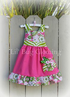 Custom Boutique Clothing Lime and  Pink Floral Owl Fall Jumper Dress