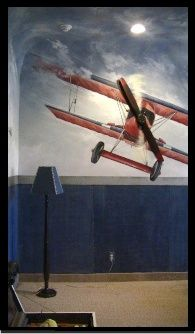 Vintage aviation room by Carmen Illustrates. Real wooden propeller used as a three dimensional element.