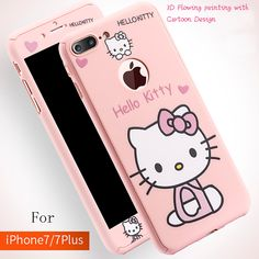 3D Cartoon hello Kitty 360 full cover for iphone 7 6 6s plus shell pink protection case for iphone7 coque cases free glass flim