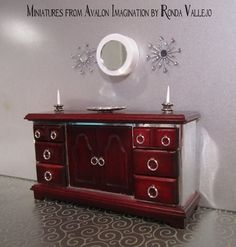 1:12th Scale Hollywood Regency Style Mahogany and Mirror finish Buffet Sideboard