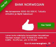 Tarvitsetko edullista lainaa 1000-50 000€? Arvostatko sitä, että tunnetun lentoyhtiön omistama pankki antaa lainatarjouksen ilmaiseksi  ja heti ruudullesi? Pidätkö edullisuuden ehdosta, että lainanmyöntäjäsi ei ole välittäjä, vaan lainaa omaa rahaansa? Hyvä, Bank Norwegian Suomi pystyy tarjoamaan kaikki nämä edut! Myös yhdistelylainaa 1000-50 000€! Lue lisää...!