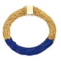 Multi-chain gold n blue neck piece- Lee Angel Lc Jewelry, Statement Jewelry, Jewelry Accessories, Fashion Accessories, Jewelry Design, Jewelry Ideas, Gold Necklace, Angel Necklace, Braided Necklace