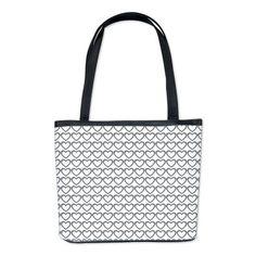 Cute grey white hearts pattern bucket bag $77.99