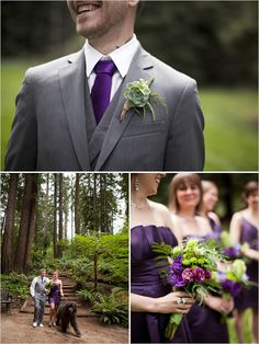 Green with purple bouquet