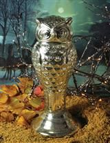 Art Deco owl statue, mercury glass