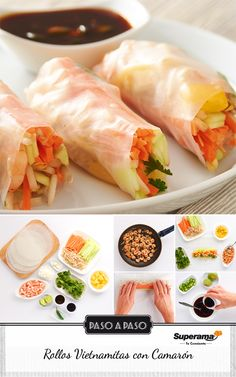 #Rollos #Vietnamitas Cocina en 1sartén con aceite, 4cdas. cebolla picada, 2cdtas. ajo picado, 300g camarón y salpimienta. Remoja 6hojas de arroz en agua fría para suavizar. Coloca 1hoja sobre trapo húmedo y pon en el centro zanahoria, pepino y germen de soya rallados, cilantro, cubos de mango y 2cdas. de camarones. Enrolla como taco y corta por la mitad. Para la salsa mezcla ½ tz. salsa teriyaki, ¼ tz. salsa soya light, jugo de 1limón y 1chile serrano picado. Baña los rollos con la salsa y…