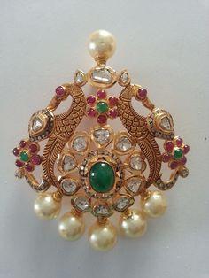 ruby emerald peacock pendant