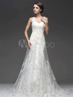 Sequin marfim elegante vestido de casamento nupcial tule a linha sem mangas -No.1