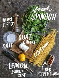 Creamy Goat Cheese and Spinach Pasta is a snap to put together on a weeknight. The sauce is made creamy with goat cheese and pasta water. Recipe on ! Goat Cheese Pasta, Goat Cheese Recipes, Spinach Recipes, Creamy Pasta Recipes, Gourmet Recipes, Vegetarian Recipes, Cooking Recipes, Healthy Recipes, Goat Cheese