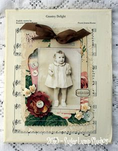 CHERISH  8 x 10 inch altered canvas with vintage wallpaper and embellishments
