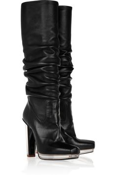 Mirrored-heel stretch-leather knee boots by Yves Saint Laurent