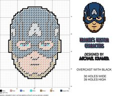 Marvel Ornament Head- Captain America (Stealth Suit) plastic canvas pattern by Michael Kramer