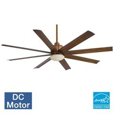 """MinkaAire Slipstream 65"""" 8 Blade Indoor / Outdoor Ceiling Fan with Blades and Li Distressed Koa Fans Ceiling Fans Outdoor Ceiling Fans"""