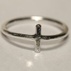 Tiny Cross Ring , Toe Ring , Pinky Ring , US Size 2.5 , Faith Jewelry , Fine Silver Ring Handcrafted by  Maggie McMane Designs Ready to Ship on Etsy, $28.00