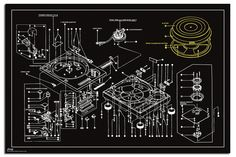Steez Record Decks Technical Drawing Poster