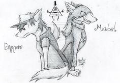 The Pine Twins Wolves - Gravity Falls Fan Art by deedeedragonwolf.deviantart.com on @deviantART