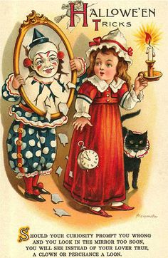 Antique Halloween Postcard, signed Alein Muller.