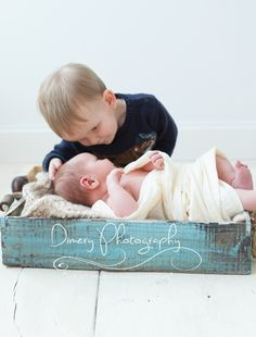 newborn with big brother, sibling newborn photography idea