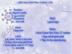 1200 Calorie Meal Plan for my Calorie Counters:)  bodyulove.com/   √ Like √Share √ Tag √Re-post √ Follow Me To Save this..Be sure to SHARE so it will be Stored on your personal page. For more great recipes, lots of fun, amazing ideas.....Click and join us here ------>https://www.facebook.com/groups/BodyulovebyLisa/