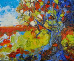 Original Abstract OIL Tree Landscape Painting MODERN Pallette Knife Art Orange Blue Impasto by Catherine Claire McElveen