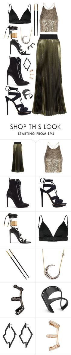 """""""Gashina #7"""" by alicepardus ❤ liked on Polyvore featuring Galvan, Alice + Olivia, Giuseppe Zanotti, Monique Lhuillier, Tom Ford, Givenchy, Versace, Renee Lewis, Repossi and Lynn Ban"""