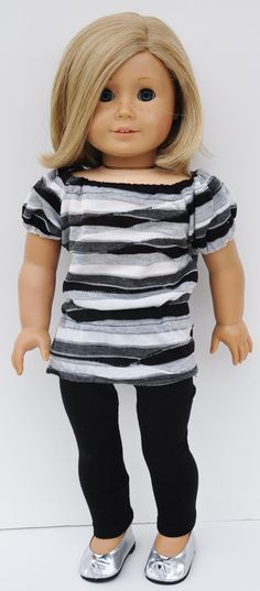 American Girl Clothes  Black Grey White by LoriLizGirlsandDolls, $24.00  like the length of the top