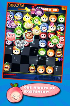FruitsPang - This is a charming iOS game that is easy to learn for all ages. FruitsPang is a puzzle game that is pretty basic in concept, but its inclusion of smiling (or grumpy) fruits makes it more appealing to some audiences than traditional matching puzzle games. In this game as long as the like-fruit characters can all be connected somehow with lines (without other fruits interfering with those lines), then points can be scored. This fun game is easy to learn and highly recommended!