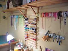 Wall-length ribbon organizers you can make yourself. photo by jigabugbaby