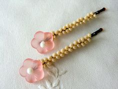 Peach Flower Bobby Pins Beaded Floral Hair pin by CharlotteJewelryBox