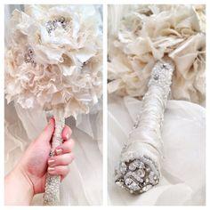 Boho White & Ivory Lace Wedding Bouquet by BeautifulAgainBridal, $300.00