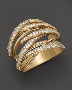 Diamond Multi-Row 14K Yellow Gold Band, .70 ct. t.w. | Bloomingdale's