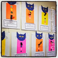 Children make their own Pete the Cat  and create their own subtraction problems.  This later becomes a bulletin board display inspired by the book Pete the Cat and His Four Groovy Buttons.