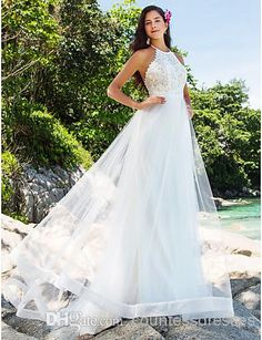 2015 Fashion New Gorgeous A-Line Organza Pearl Beads Halter Lace Backless Bow Knot Corset Vintage High Neck Wedding Dresses Bridal Gowns, $125.66 | DHgate.com
